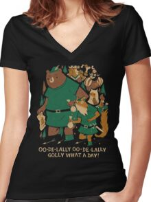oo-de-lally Women's Fitted V-Neck T-Shirt