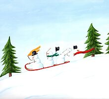 Snowmen on a Sled by Michelle Meyer