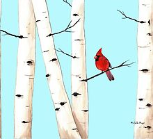 Cardinal with Birch Trees by Michelle Meyer