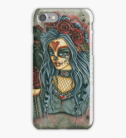 Red Rose Sugar Skull Face iPhone Case/Skin