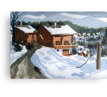Snowed In Watercolor Metal Print