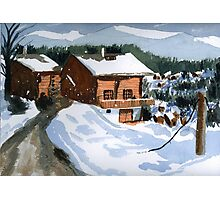 Snowed In Watercolor Photographic Print
