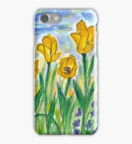 Yellow Tulips II Watercolor iPhone Case/Skin