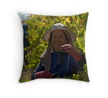 Picking grapes at  Longboard Winery, Surfcoast, Australia. Throw Pillow