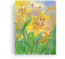 Lilies and Bees II Watercolor Canvas Print
