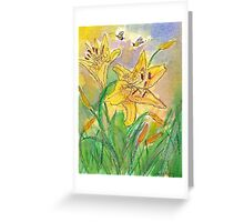 Lilies and Bees II Watercolor Greeting Card