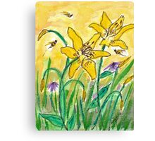 Lilies and Bees Watercolor Canvas Print