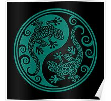 Teal Blue and Black Yin Yang Geckos Poster