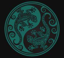 Teal Blue and Black Yin Yang Geckos Kids Clothes