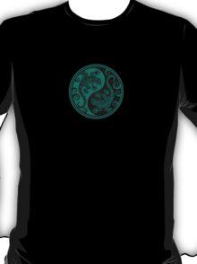 Teal Blue and Black Yin Yang Geckos T-Shirt