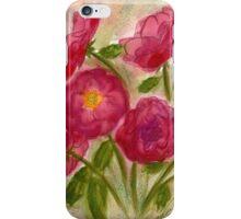 Crimson Roses Watercolor iPhone Case/Skin