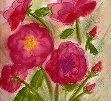 Crimson Roses Watercolor by AngelaBishop