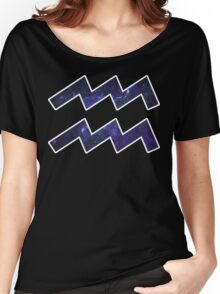 Purple Broccoli [White Outline] | Age of Aquarius Women's Relaxed Fit T-Shirt