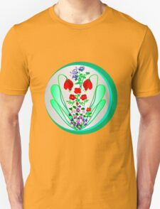 FLOWER GARDEN ON SILVER Unisex T-Shirt