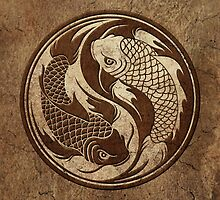Yin Yang Koi Fish with Rough Texture Effect by Jeff Bartels