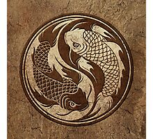 Yin Yang Koi Fish with Rough Texture Effect Photographic Print