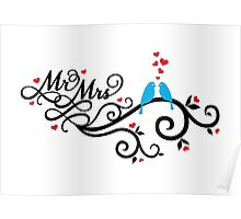 Mr. and Mrs. wedding invitation with blue love birds Poster