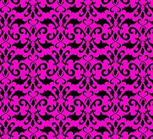 Royal Damask, Ornaments, Swirls - Pink Black by sitnica