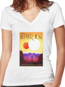 Nasa Travel Poster-Kepler-16b Women's Fitted V-Neck T-Shirt
