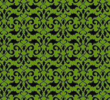 Royal Damask, Ornaments, Swirls - Green Black by sitnica