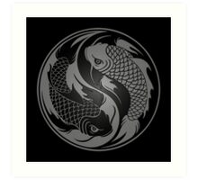 Gray and Black Yin Yang Koi Fish Art Print