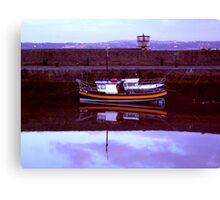 wee orange stripey boat ... Canvas Print