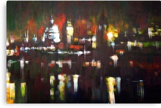 London Skyline Abstract Realism 2008 by Samuel Durkin
