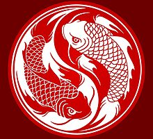 Red and White Yin Yang Koi Fish by Jeff Bartels