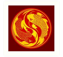 Red and Yellow Yin Yang Koi Fish Art Print