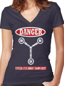 Flux Capacitor Women's Fitted V-Neck T-Shirt