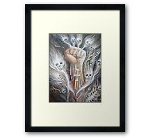 A junky's hand Framed Print