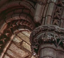 Capitals and arches Window arches in wall of church Lanercost Priory Cumbria England 198405260021   by Fred Mitchell