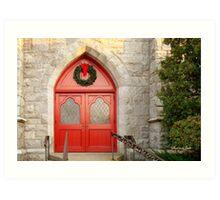 Church Doors in December Art Print
