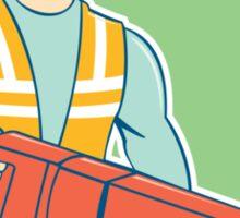 Construction Worker Jackhammer Shield Cartoon Sticker