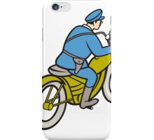 Highway Patrol Policeman Riding Motorbike Cartoon iPhone Case/Skin