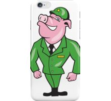 World War Two Pig Soldier Attention Cartoon Isolated iPhone Case/Skin