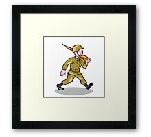 World War Two Soldier American Cartoon Isolated Framed Print