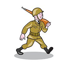 World War Two Soldier American Cartoon Isolated Photographic Print