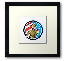 World War Two Soldier American Marching Cartoon Circle Framed Print