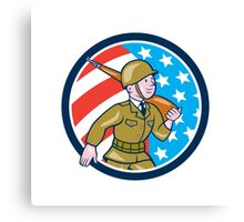 World War Two Soldier American Marching Cartoon Circle Canvas Print