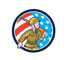 World War Two Soldier American Marching Cartoon Circle Photographic Print