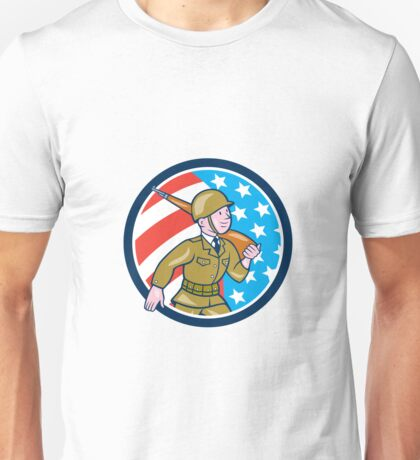 World War Two Soldier American Marching Cartoon Circle Unisex T-Shirt