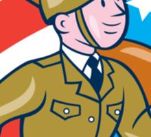World War Two Soldier American Marching Cartoon Circle Sticker