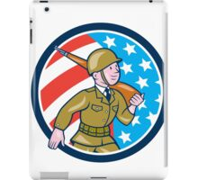 World War Two Soldier American Marching Cartoon Circle iPad Case/Skin