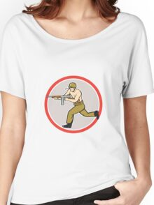 World War Two Soldier American Tommy Gun Women's Relaxed Fit T-Shirt