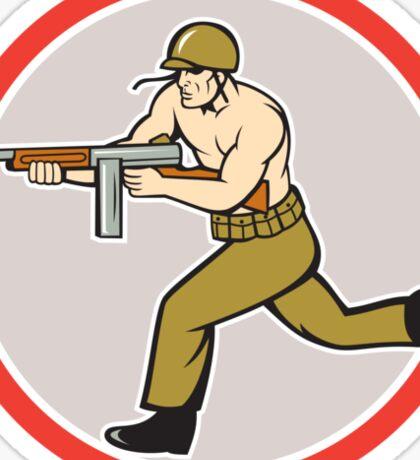 World War Two Soldier American Tommy Gun Sticker