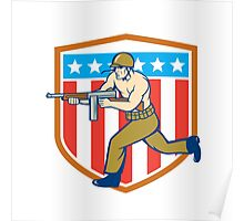 World War Two Soldier American Tommy Gun Shield Poster