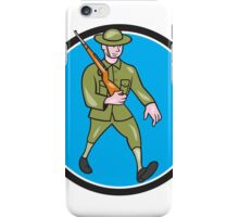 World War One Soldier British Marching Circle Cartoon iPhone Case/Skin