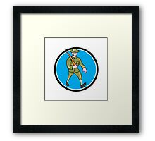 World War One Soldier British Marching Circle Cartoon Framed Print