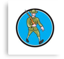 World War One Soldier British Marching Circle Cartoon Canvas Print